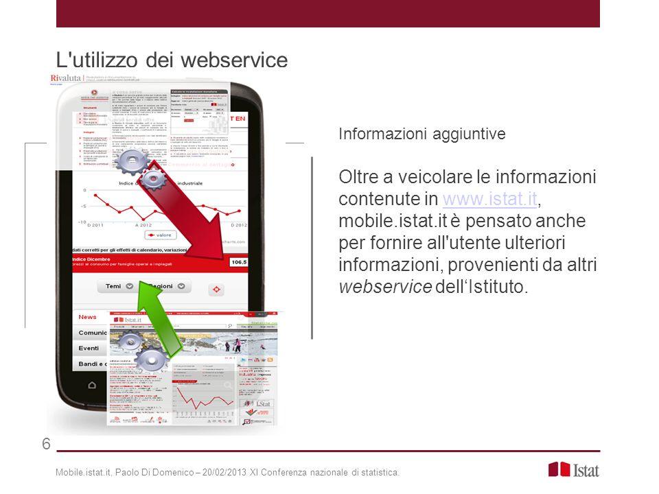 Informazioni aggiuntive Oltre a veicolare le informazioni contenute in www.istat.it, mobile.istat.it è pensato anche per fornire all'utente ulteriori