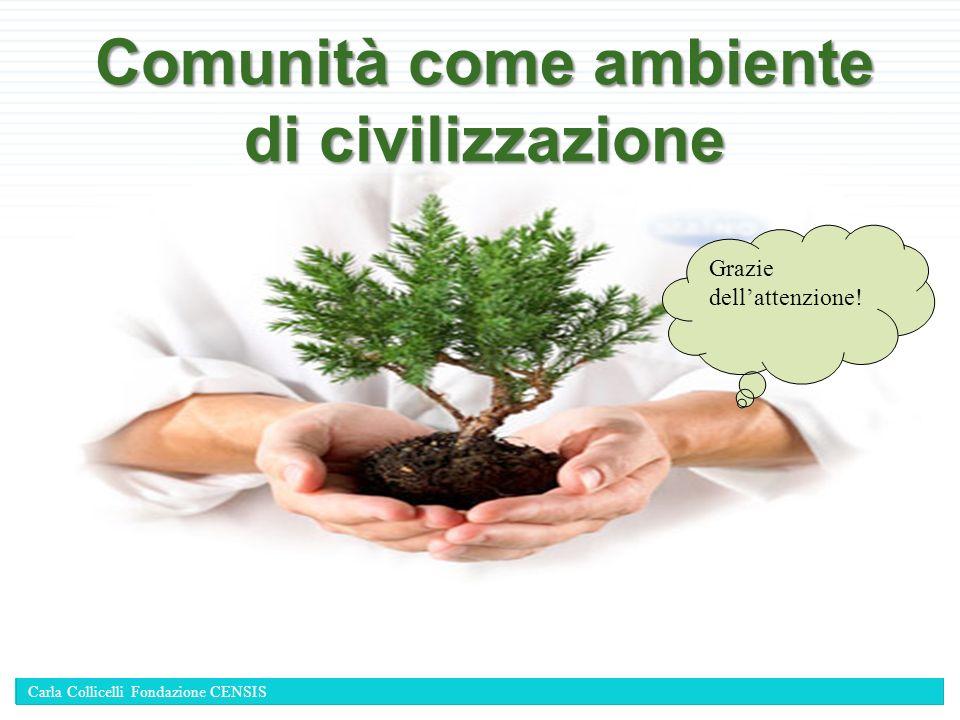 Comunità come ambiente di civilizzazione Grazie dellattenzione! Carla Collicelli Fondazione CENSIS