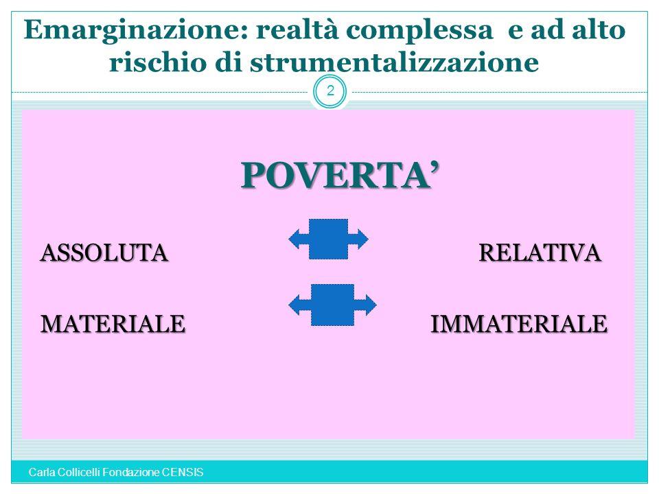 Emarginazione: realtà complessa e ad alto rischio di strumentalizzazione POVERTA POVERTA ASSOLUTA RELATIVA ASSOLUTA RELATIVA MATERIALE IMMATERIALE MAT