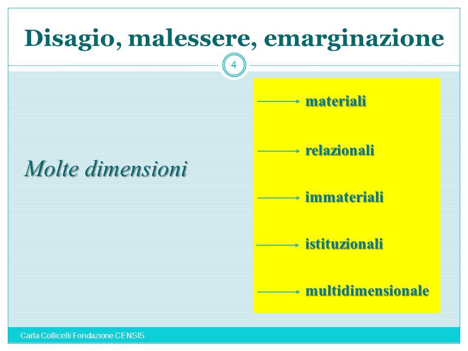 Disagio, malessere, emarginazione 4 Molte dimensioni materialirelazionaliimmaterialiistituzionalimultidimensionale Carla Collicelli Fondazione CENSIS