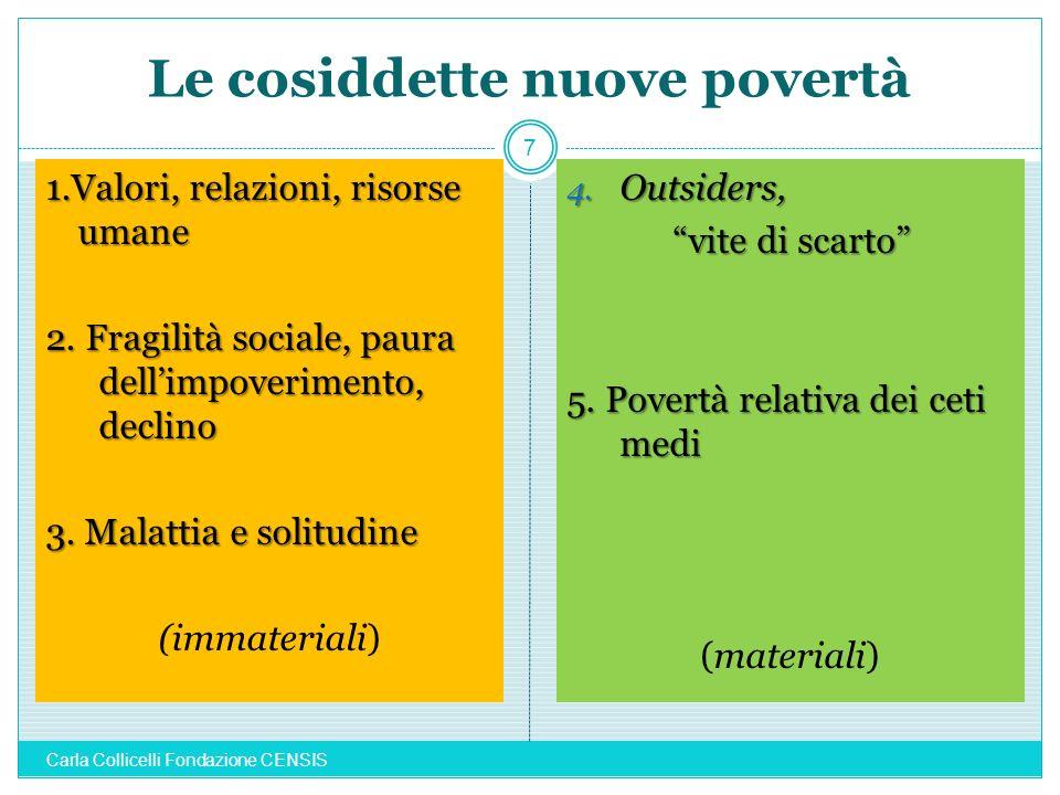Le cosiddette nuove povertà 1.Valori, relazioni, risorse umane 2. Fragilità sociale, paura dellimpoverimento, declino 3. Malattia e solitudine (immate
