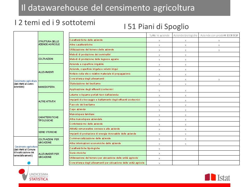 Il datawarehouse del censimento agricoltura I 51 Piani di Spoglio I 2 temi ed i 9 sottotemi