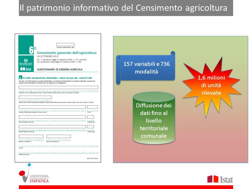 Il Il patrimonio informativo del Censimento agricoltura 1,6 milioni di unità rilevate 157 variabili e 736 modalità Diffusione dei dati fino al livello territoriale comunale