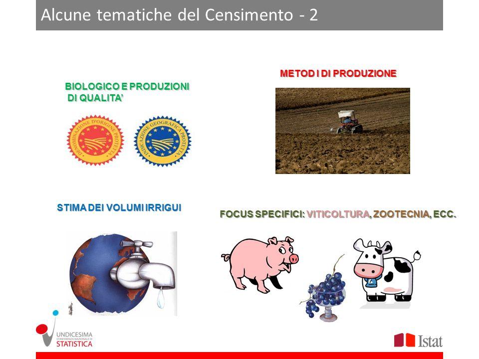 Alcune tematiche del Censimento - 2 STIMA DEI VOLUMI IRRIGUI FOCUS SPECIFICI: VITICOLTURA, ZOOTECNIA, ECC.