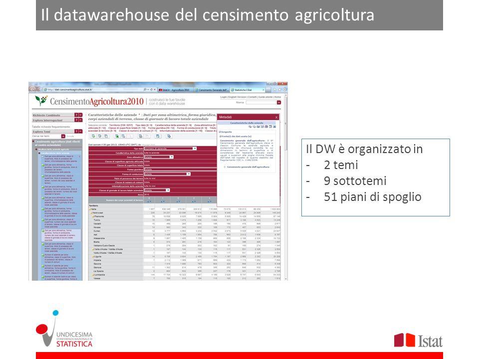 Il datawarehouse del censimento agricoltura Il DW è organizzato in -2 temi -9 sottotemi -51 piani di spoglio