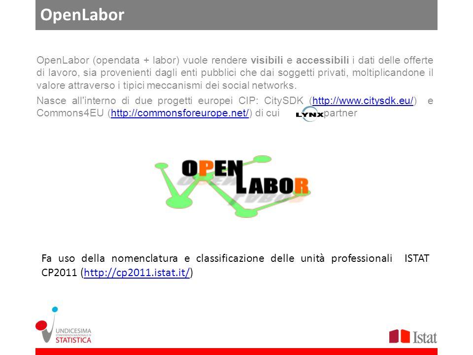 OpenLabor OpenLabor (opendata + labor) vuole rendere visibili e accessibili i dati delle offerte di lavoro, sia provenienti dagli enti pubblici che dai soggetti privati, moltiplicandone il valore attraverso i tipici meccanismi dei social networks.