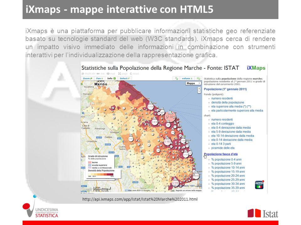 iXmaps - mappe interattive con HTML5 iXmaps è una piattaforma per pubblicare informazioni statistiche geo referenziate basato su tecnologie standard del web (W3C standards).