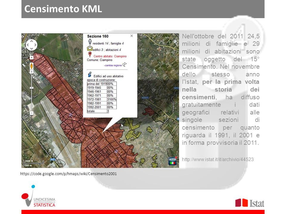 Censimento KML Nell ottobre del 2011 24,5 milioni di famiglie e 29 milioni di abitazioni sono state oggetto del 15° Censimento.