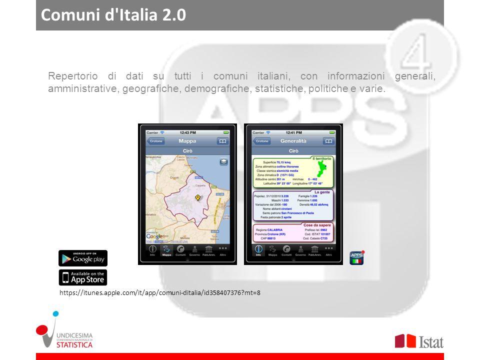 Comuni d Italia 2.0 Repertorio di dati su tutti i comuni italiani, con informazioni generali, amministrative, geografiche, demografiche, statistiche, politiche e varie.