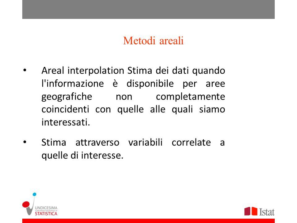 Metodi areali Areal interpolation Stima dei dati quando l informazione è disponibile per aree geografiche non completamente coincidenti con quelle alle quali siamo interessati.