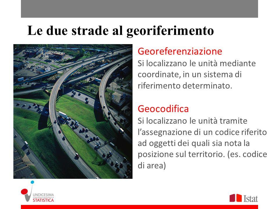 Metodi di georiferimento diretti Diretti (nelle indagini in fase di rilevazione negli archivi in fase di costruzione) Georeferenziazione Acquisizione di coordinate puntuali (es.