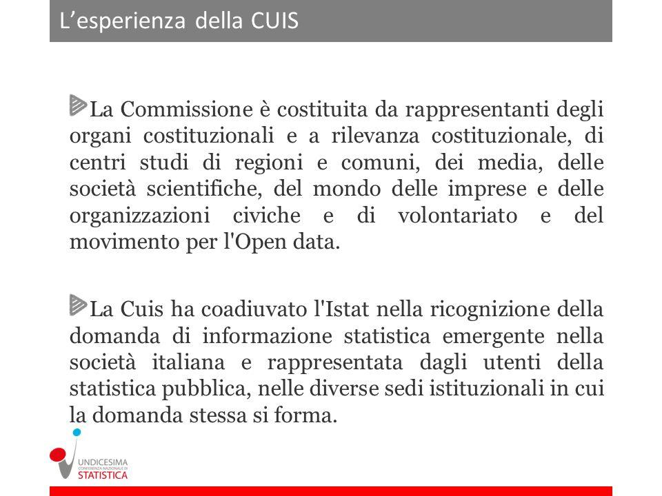 Lesperienza della CUIS La Commissione è costituita da rappresentanti degli organi costituzionali e a rilevanza costituzionale, di centri studi di regioni e comuni, dei media, delle società scientifiche, del mondo delle imprese e delle organizzazioni civiche e di volontariato e del movimento per l Open data.