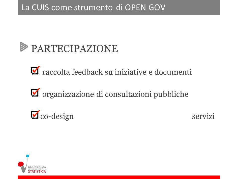 La CUIS come strumento di OPEN GOV PARTECIPAZIONE raccolta feedback su iniziative e documenti organizzazione di consultazioni pubbliche co-design servizi