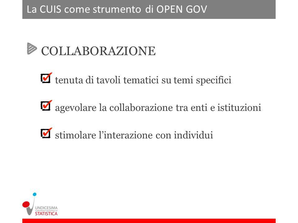 La CUIS come strumento di OPEN GOV COLLABORAZIONE tenuta di tavoli tematici su temi specifici agevolare la collaborazione tra enti e istituzioni stimolare linterazione con individui