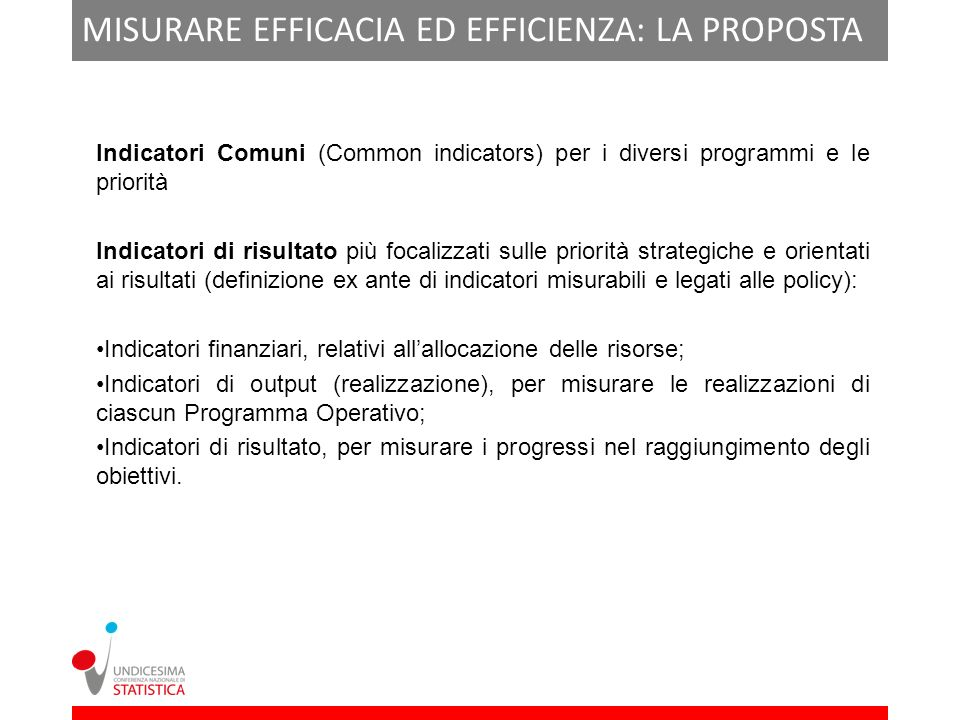 MISURARE EFFICACIA ED EFFICIENZA: LA PROPOSTA DI REGOLAMENTO Indicatori Comuni (Common indicators) per i diversi programmi e le priorità Indicatori di