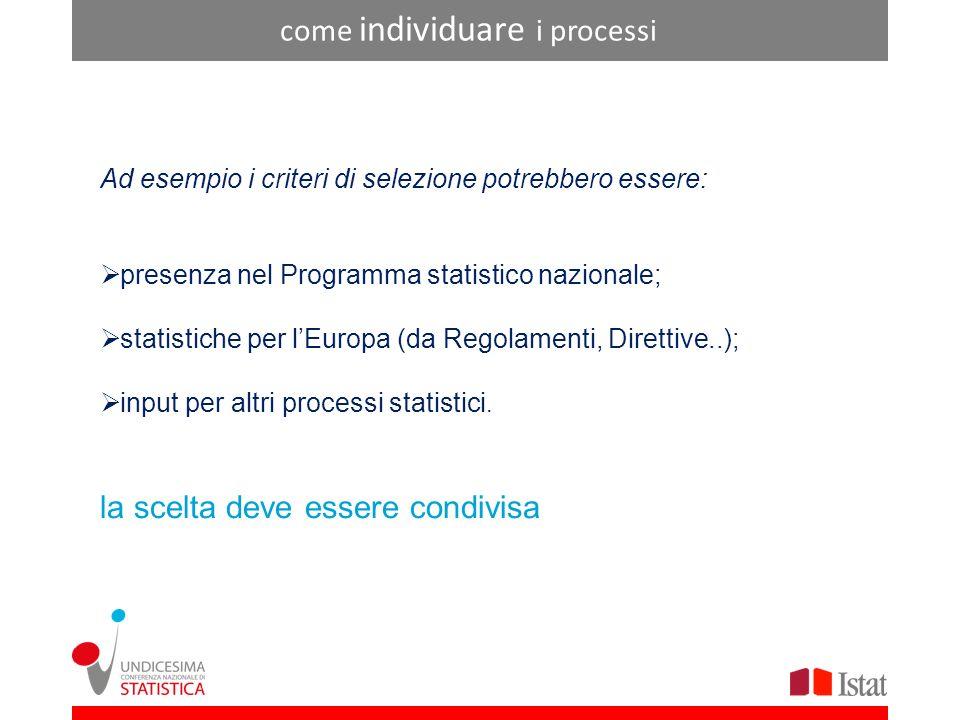 come individuare i processi Ad esempio i criteri di selezione potrebbero essere: presenza nel Programma statistico nazionale; statistiche per lEuropa (da Regolamenti, Direttive..); input per altri processi statistici.