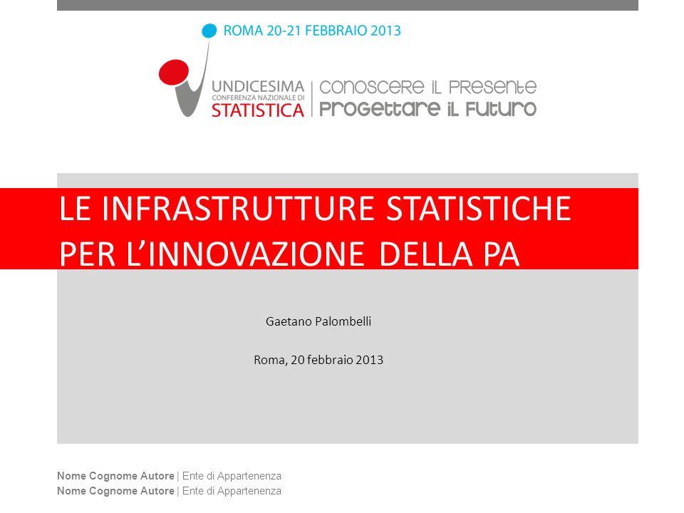 LE INFRASTRUTTURE STATISTICHE PER LINNOVAZIONE DELLA PA Gaetano Palombelli Roma, 20 febbraio 2013 Nome Cognome Autore | Ente di Appartenenza