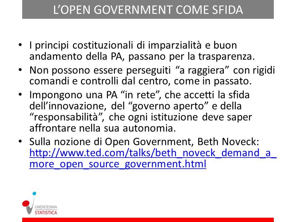 LOPEN GOVERNMENT COME SFIDA I principi costituzionali di imparzialità e buon andamento della PA, passano per la trasparenza.
