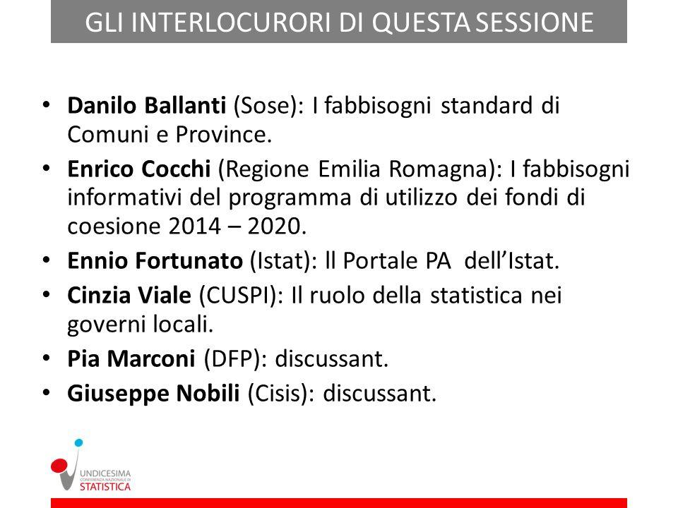 GLI INTERLOCURORI DI QUESTA SESSIONE Danilo Ballanti (Sose): I fabbisogni standard di Comuni e Province.