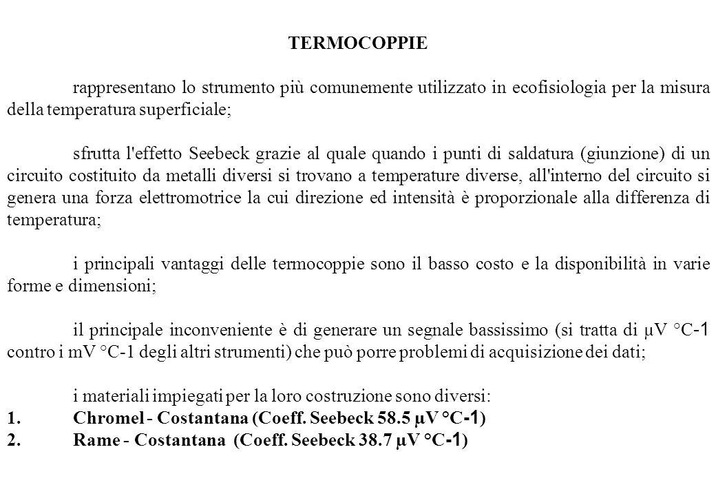 TERMOCOPPIE rappresentano lo strumento più comunemente utilizzato in ecofisiologia per la misura della temperatura superficiale; sfrutta l'effetto See