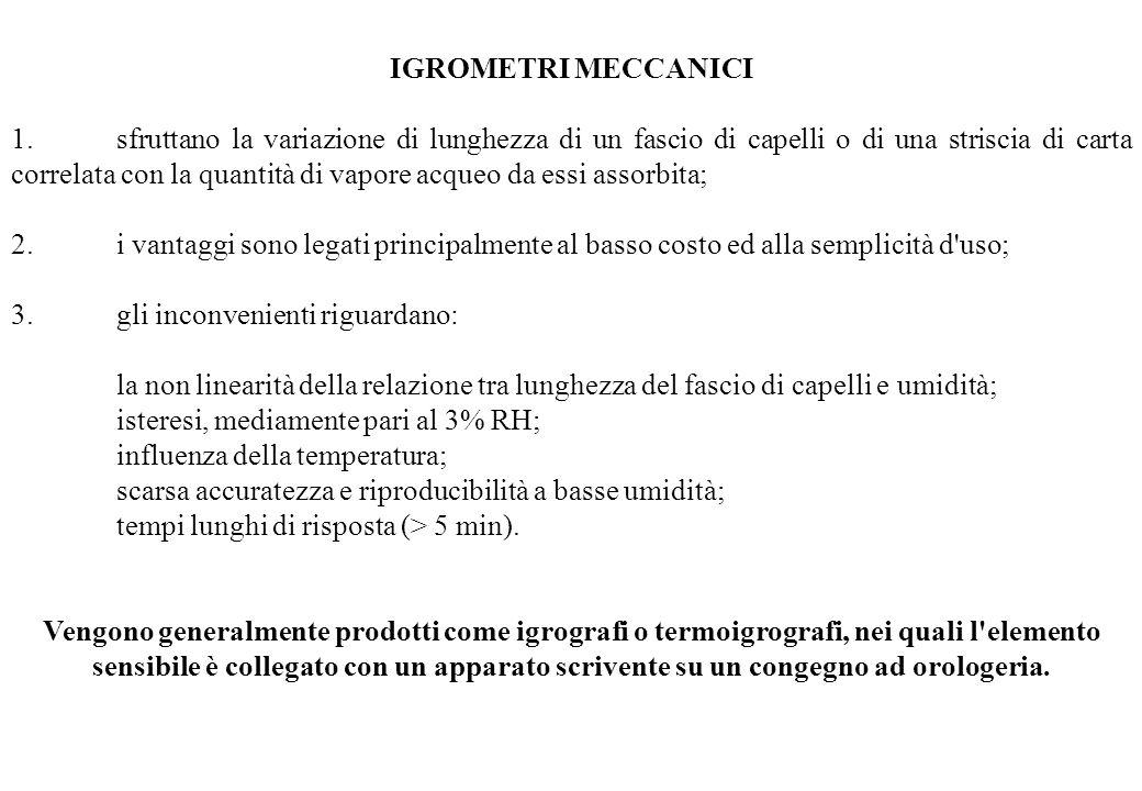IGROMETRI MECCANICI 1.sfruttano la variazione di lunghezza di un fascio di capelli o di una striscia di carta correlata con la quantità di vapore acqu