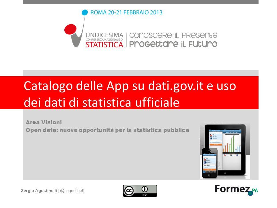 Catalogo delle App su dati.gov.it e uso dei dati di statistica ufficiale Area Visioni Open data: nuove opportunità per la statistica pubblica Sergio A
