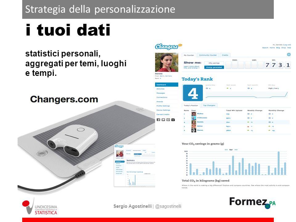 Strategia della personalizzazione i tuoi dati statistici personali, aggregati per temi, luoghi e tempi. Sergio Agostinelli | @sagostinelli