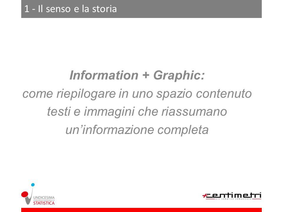 1 - Il senso e la storia Information + Graphic: come riepilogare in uno spazio contenuto testi e immagini che riassumano uninformazione completa