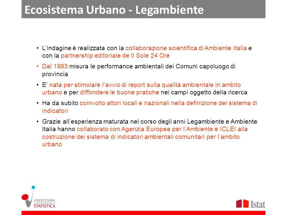 Ecosistema Urbano - Legambiente Lindagine è realizzata con la collaborazione scientifica di Ambiente Italia e con la partnership editoriale de Il Sole