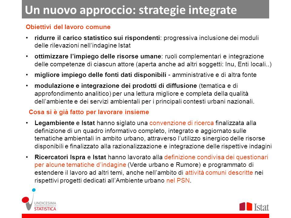 Un nuovo approccio: strategie integrate Obiettivi del lavoro comune ridurre il carico statistico sui rispondenti: progressiva inclusione dei moduli de