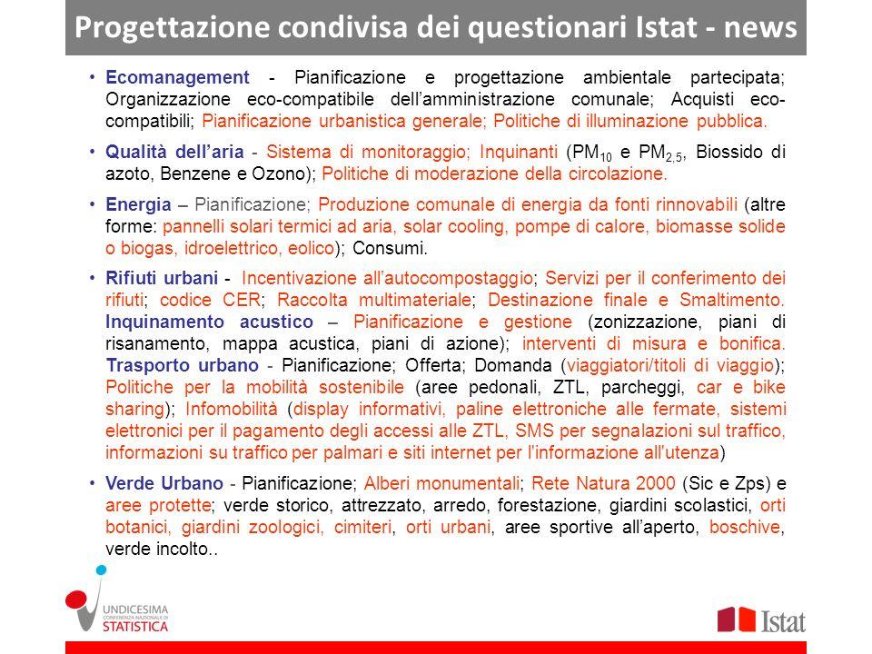 Progettazione condivisa dei questionari Istat - news Ecomanagement - Pianificazione e progettazione ambientale partecipata; Organizzazione eco-compati