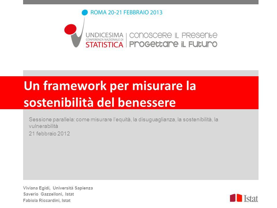 Un framework per misurare la sostenibilità del benessere Sessione parallela: come misurare lequità, la disuguaglianza, la sostenibilità, la vulnerabil