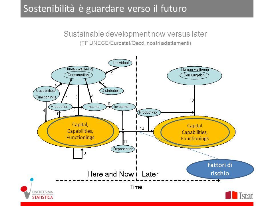 Sostenibilità è guardare verso il futuro Sustainable development now versus later (TF UNECE/Eurostat/Oecd, nostri adattamenti) Capital Capabilities, F