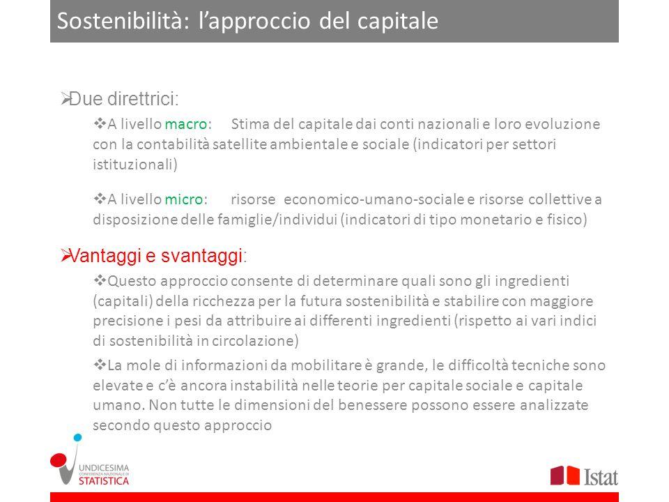 Sostenibilità: lapproccio del capitale Due direttrici: A livello macro: Stima del capitale dai conti nazionali e loro evoluzione con la contabilità sa