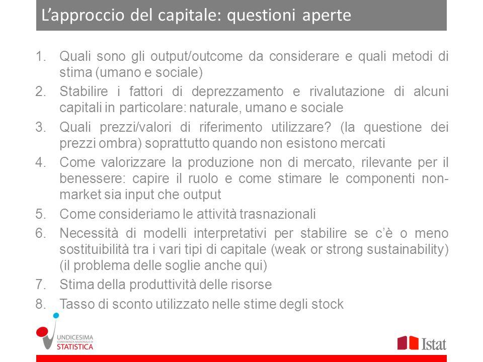 Lapproccio del capitale: questioni aperte 1.Quali sono gli output/outcome da considerare e quali metodi di stima (umano e sociale) 2.Stabilire i fatto