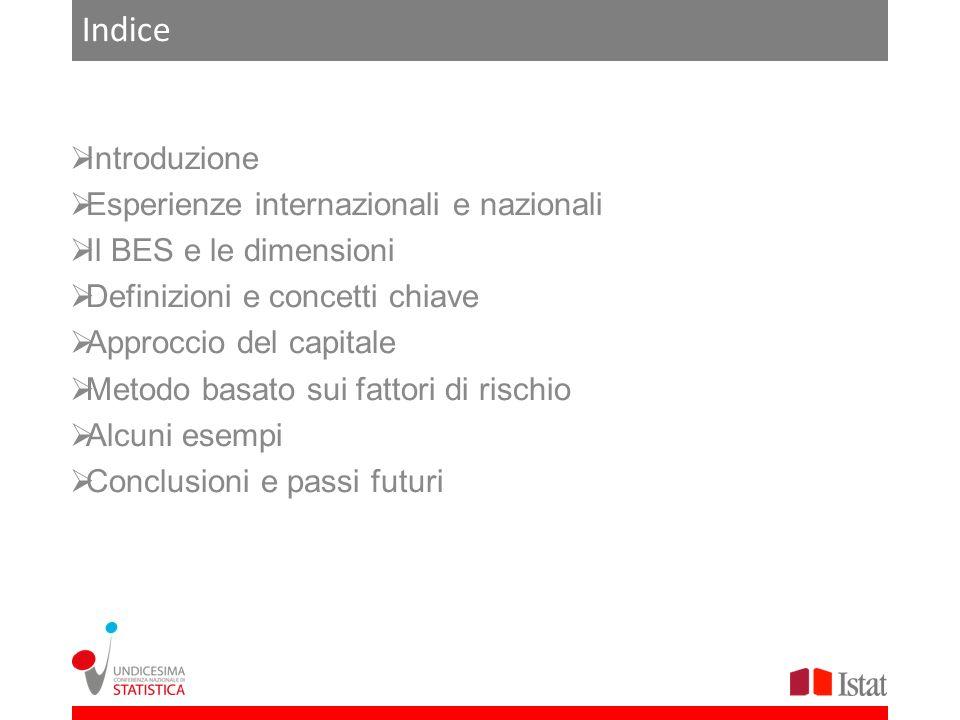 Indice Introduzione Esperienze internazionali e nazionali Il BES e le dimensioni Definizioni e concetti chiave Approccio del capitale Metodo basato su