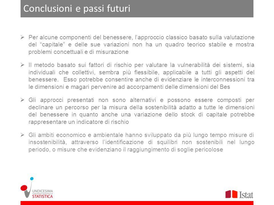 Conclusioni e passi futuri Per alcune componenti del benessere, lapproccio classico basato sulla valutazione del capitale e delle sue variazioni non h