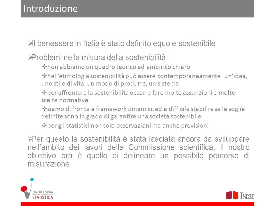 Introduzione Il benessere in Italia è stato definito equo e sostenibile Problemi nella misura della sostenibilità: non abbiamo un quadro teorico ed em