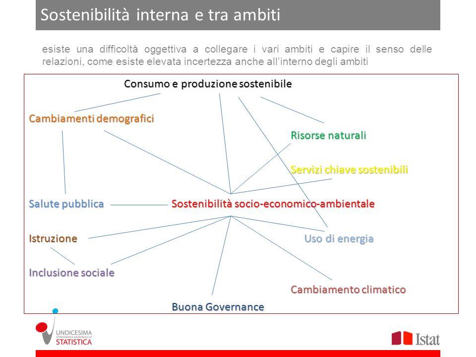 Sostenibilità interna e tra ambiti esiste una difficoltà oggettiva a collegare i vari ambiti e capire il senso delle relazioni, come esiste elevata in