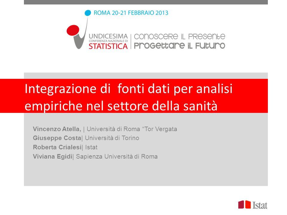 Integrazione di fonti dati per analisi empiriche nel settore della sanità Vincenzo Atella, | Università di Roma Tor Vergata Giuseppe Costa| Università