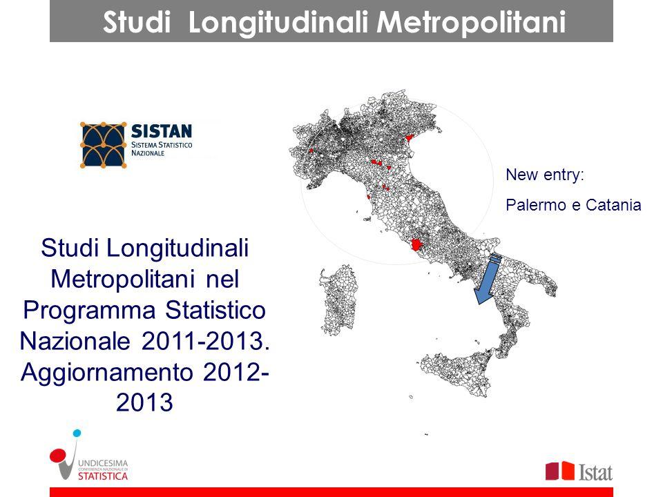 Studi Longitudinali Metropolitani nel Programma Statistico Nazionale 2011-2013. Aggiornamento 2012- 2013 New entry: Palermo e Catania Studi Longitudin