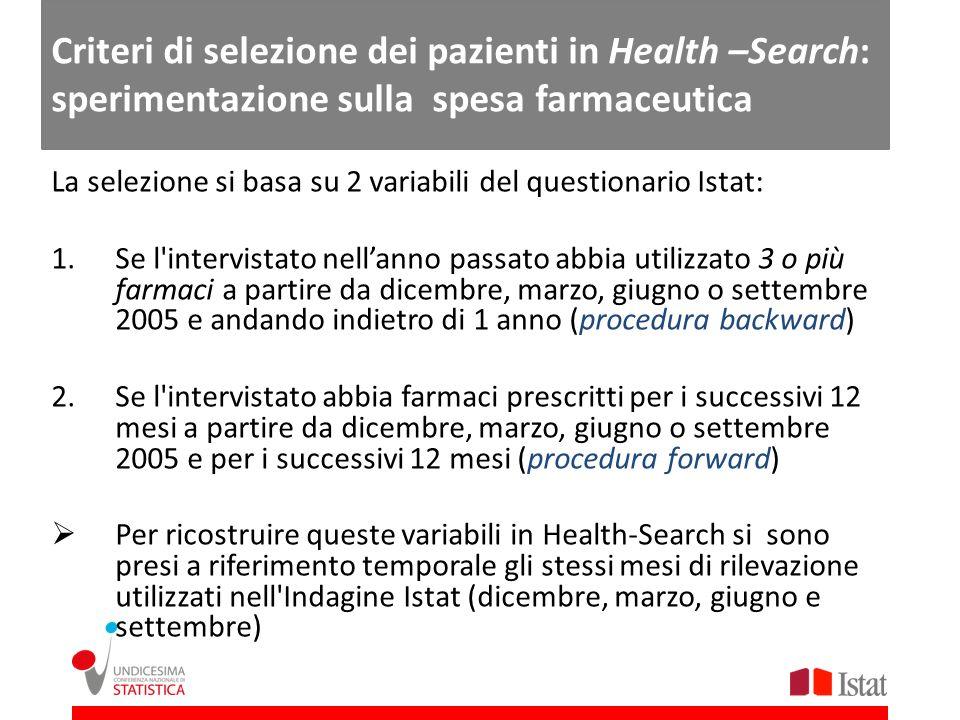 La selezione si basa su 2 variabili del questionario Istat: 1.Se l'intervistato nellanno passato abbia utilizzato 3 o più farmaci a partire da dicembr