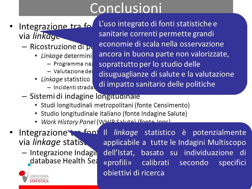 Conclusioni Integrazione tra fonti statistiche e rilevazioni correnti via linkage individuale – Ricostruzione di percorsi preventivi e di cura Linkage