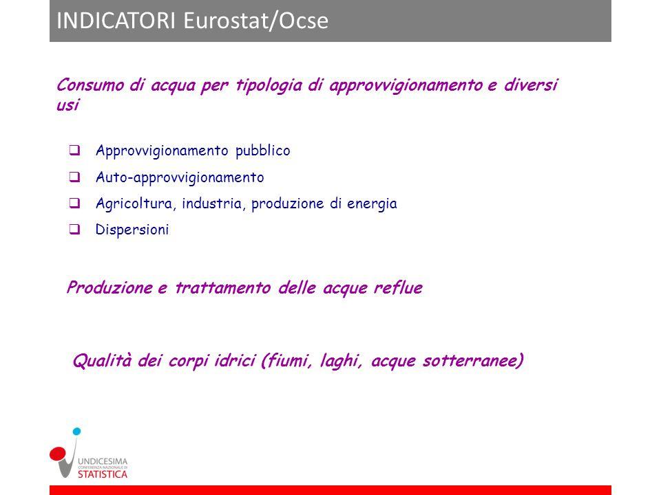 INDICATORI Eurostat/Ocse Consumo di acqua per tipologia di approvvigionamento e diversi usi Approvvigionamento pubblico Auto-approvvigionamento Agrico