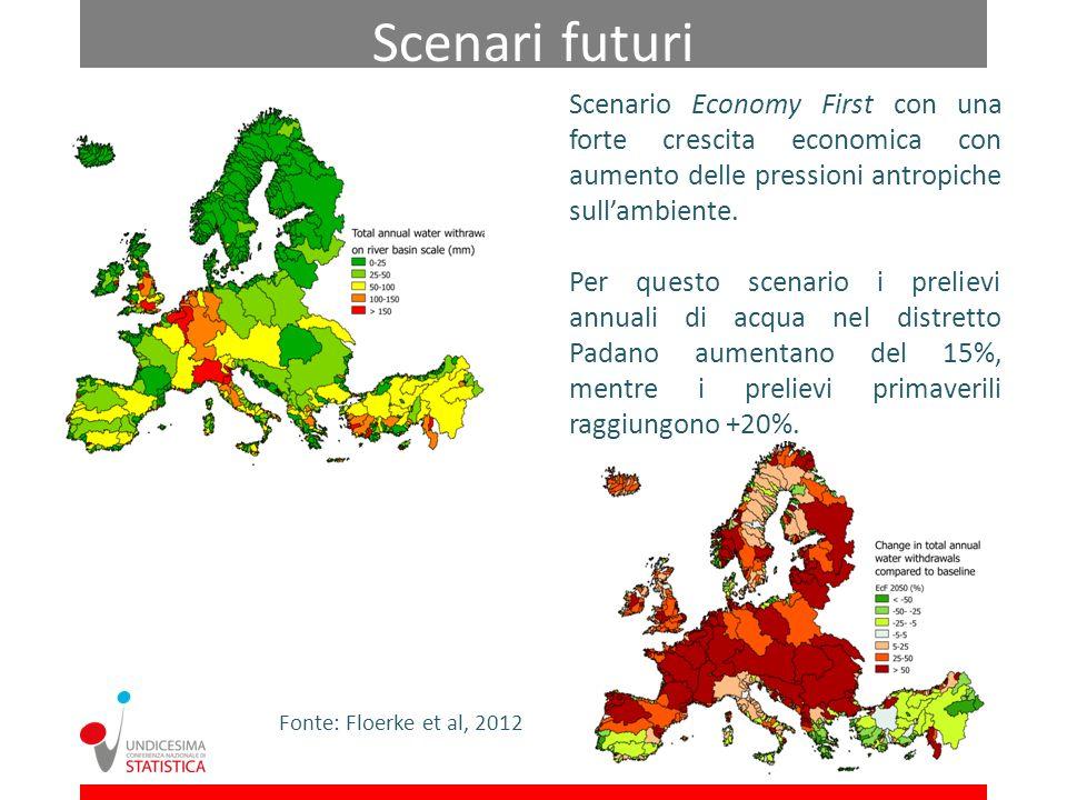 Fonte: Floerke et al, 2012 Scenario Economy First con una forte crescita economica con aumento delle pressioni antropiche sullambiente. Per questo sce