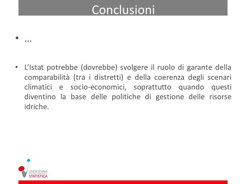 … LIstat potrebbe (dovrebbe) svolgere il ruolo di garante della comparabilità (tra i distretti) e della coerenza degli scenari climatici e socio-econo