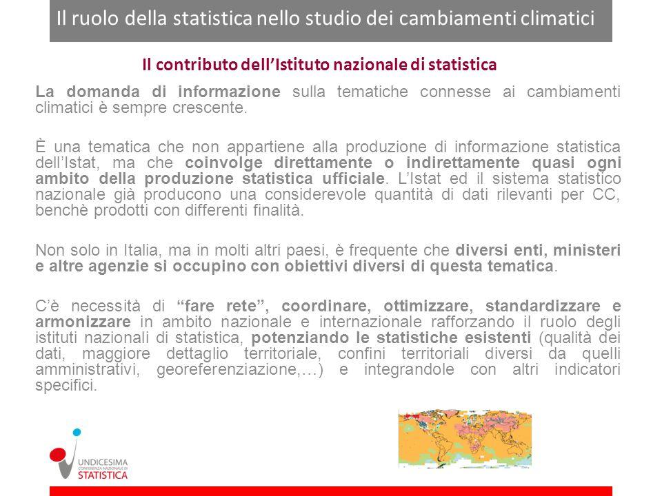 Il contributo dellIstituto nazionale di statistica La domanda di informazione sulla tematiche connesse ai cambiamenti climatici è sempre crescente. È