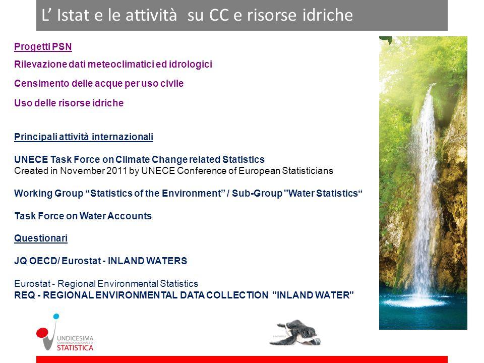 L Istat e le attività su CC e risorse idriche Progetti PSN Rilevazione dati meteoclimatici ed idrologici Censimento delle acque per uso civile Uso del