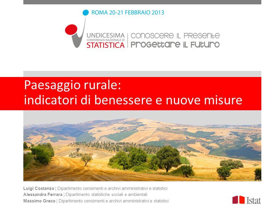 Paesaggio rurale: indicatori di benessere e nuove misure Luigi Costanzo | Dipartimento censimenti e archivi amministrativi e statistici Alessandra Fer