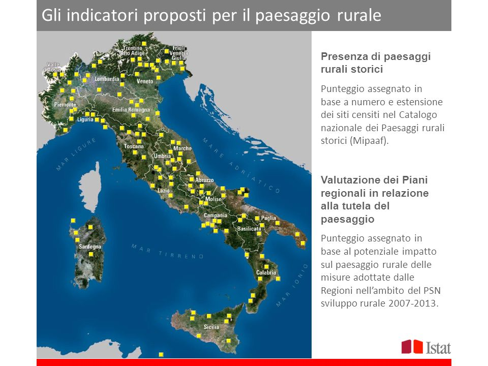 Gli indicatori proposti per il paesaggio rurale Presenza di paesaggi rurali storici Punteggio assegnato in base a numero e estensione dei siti censiti